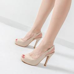Donna Pelle verniciata Tacco a spillo Stiletto Piattaforma Punta aperta Con cinturino scarpe (087122539)