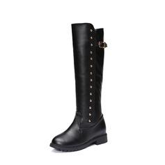 Frauen PU Niederiger Absatz Stiefel Kniehocher Stiefel mit Niete Schnalle Schuhe (088137083)