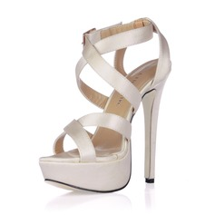 Women's Silk Like Satin Stiletto Heel Sandals Slingbacks With Buckle (047017931)