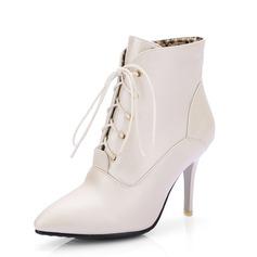 Женщины кожа Высокий тонкий каблук Полусапоги обувь (088092732)