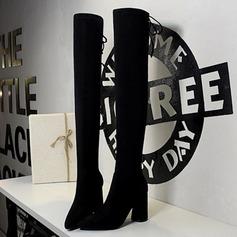 De mujer Ante Tacón ancho Salón Cerrados Botas Botas sobre la rodilla con Rivet Cordones zapatos (088191471)