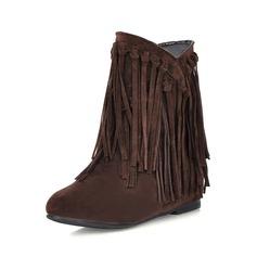 Frauen Wildleder Niederiger Absatz Stiefelette mit Quaste Schuhe (088074732)