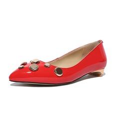 Vrouwen Patent Leather Flat Heel Flats Closed Toe met Strass schoenen (086086136)