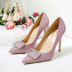 Women's Leatherette Stiletto Heel Closed Toe Pumps With Sparkling Glitter Crystal (047193143)