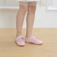 Mädchens Geschlossene Zehe Microfaser-Leder Flache Ferse Flache Schuhe Blumenmädchen Schuhe mit Klettverschluss Quaste (207121994)