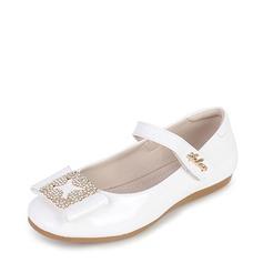 Mädchens Round Toe Geschlossene Zehe Mary Jane Leder Flache Ferse Blumenmädchen Schuhe mit Bowknot Klettverschluss Kristall (207112582)