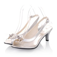 Donna Similpelle Tacchi a cono Sandalo Punta aperta Con cinturino con Fiore scarpe (087050710)