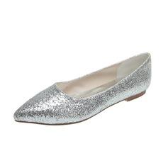 Vrouwen Sprankelende Glitter Flat Heel Closed Toe Flats (047053917)