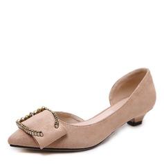 Donna Camoscio Tacco basso Stiletto Punta chiusa con Bowknot scarpe (085175374)