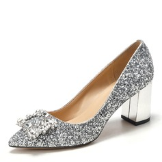 Women's Sparkling Glitter Chunky Heel Closed Toe Pumps With Crystal (047201450)