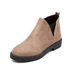 Frauen Wildleder Flascher Absatz Stiefelette Schuhe (088074428)