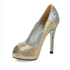Kvinnor Glittrande Glitter Stilettklack Peep Toe Sandaler med Paljetter (047016570)