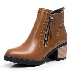 Frauen Kunstleder Stämmiger Absatz Absatzschuhe Geschlossene Zehe Stiefel Stiefel-Wadenlang mit Reißverschluss Schuhe (088176484)