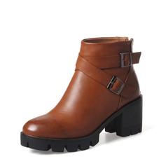 Frauen PU Stämmiger Absatz Absatzschuhe Stiefel Martin Stiefel mit Schnalle Reißverschluss Schuhe (088136944)