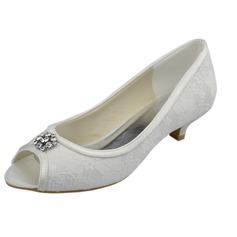 Frauen Spitze Kätzchen Absatz Peep Toe Sandalen mit Strass (047063633)