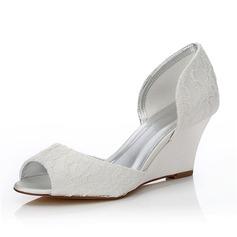 Frauen Lace Satin Keil Absatz Peep Toe Sandalen Färbbare Schuhe (047088649)