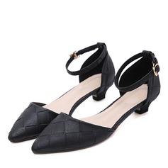 Donna Similpelle Tacco basso Stiletto Punta chiusa con Fibbia scarpe (085175367)