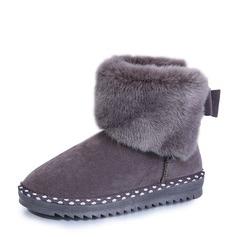 Frauen Veloursleder Flascher Absatz Absatzschuhe Stiefel Schneestiefel mit Bowknot Schuhe (088144416)