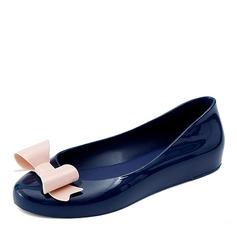 Donna PVC Ballerine Punta chiusa con Bowknot scarpe (086165231)
