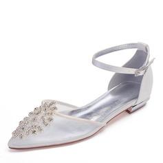 Frauen Mesh Flascher Absatz Geschlossene Zehe Flache Schuhe mit Kristall (047187619)