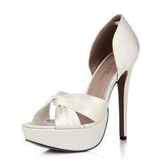 Women's Silk Like Satin Stiletto Heel Peep Toe Platform Pumps (047042799)