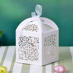 Floreale Scontornabile Cuboide Perla Carta Scatole di Favore con Nastri (set di 12) (050032985)