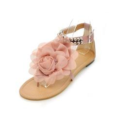 Konstläder Flat Heel Sandaler Platta Skor / Fritidsskor Peep Toe med Pärlbrodering Spänne Blomma skor (087046316)