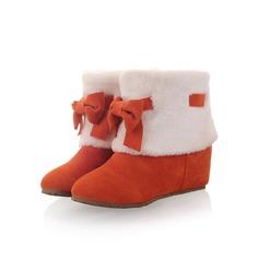 Frauen Wildleder Flascher Absatz Stiefelette mit Bowknot Pelz Schuhe (088097505)