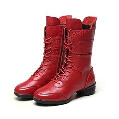 De mujer Piel Tacón ancho Botas longitud media con Correa Trenzada Material Block zapatos (088104774)