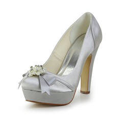 Women's Satin Chunky Heel Closed Toe Platform Pumps With Bowknot Imitation Pearl (047029477)