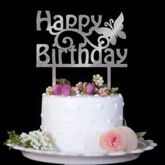 Bella farfalla/Buon compleanno Acrilico Decorazioni per torte (Venduto in un unico pezzo) (119187348)