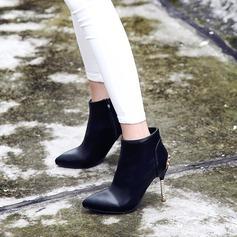 Frauen PU Stöckel Absatz Absatzschuhe Stiefel Stiefel-Wadenlang mit Reißverschluss Schmuckabsatz Schuhe (088130803)
