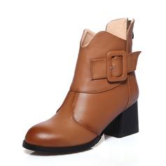 Frauen Echtleder Stämmiger Absatz Stiefelette Schuhe (088072331)