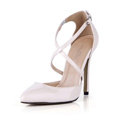 Women's Patent Leather Stiletto Heel Pumps Closed Toe With Buckle shoes (085042678)
