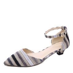 Donna Panno Tacco basso Stiletto Punta chiusa con Fibbia scarpe (085175368)