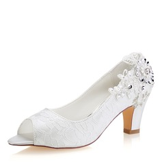 Women's Lace Silk Like Satin Stiletto Heel Peep Toe Pumps With Sequin Stitching Lace (047190302)