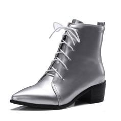 Frauen Kunstleder Stämmiger Absatz Stiefelette Schuhe (088092729)