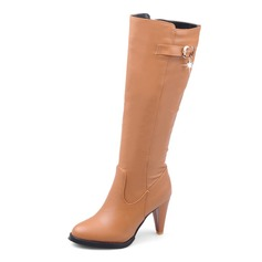 Kunstleder Kegel Absatz Stiefel-Wadenlang mit Reißverschluss Schuhe (088101091)