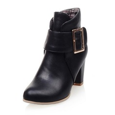 Frauen Kunstleder Stämmiger Absatz Absatzschuhe Geschlossene Zehe Stiefel Stiefelette mit Knopf Schuhe (088100611)