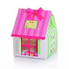 Carino a Forma di Casa Cuboide Bigné Scatole con Nastri (set di 12) (050024715)