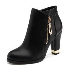 Donna PU Tacco spesso Stiletto Punta chiusa Stivali alla caviglia con Catenina scarpe (088172783)