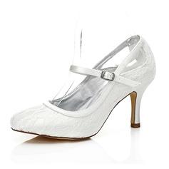 Frauen Lace Satin Stöckel Absatz Geschlossene Zehe Absatzschuhe Färbbare Schuhe (047088658)