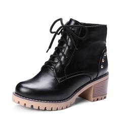 Frauen PU Stämmiger Absatz Absatzschuhe Plateauschuh Stiefel Stiefelette mit Niete Reißverschluss Zuschnüren Schuhe (088145090)