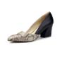 Vrouwen Kunstleer Chunky Heel Pumps Closed Toe schoenen (085094319)