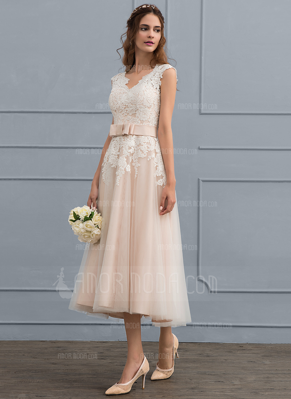 A-Line V-neck Tea-Length Tulle Wedding Dress With Bow(s) (002117099)