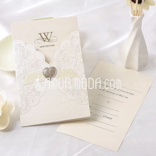 Floral Style Wrap & Pocket Invitation Cards With Ribbons (Set of 50) (114032374)