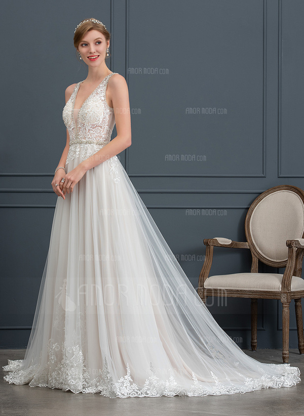 2b51b7b5385b ... Balklänning/Prinsessa V-ringning Court släp Tyll Bröllopsklänning med  Beading Paljetter (002171931) ...