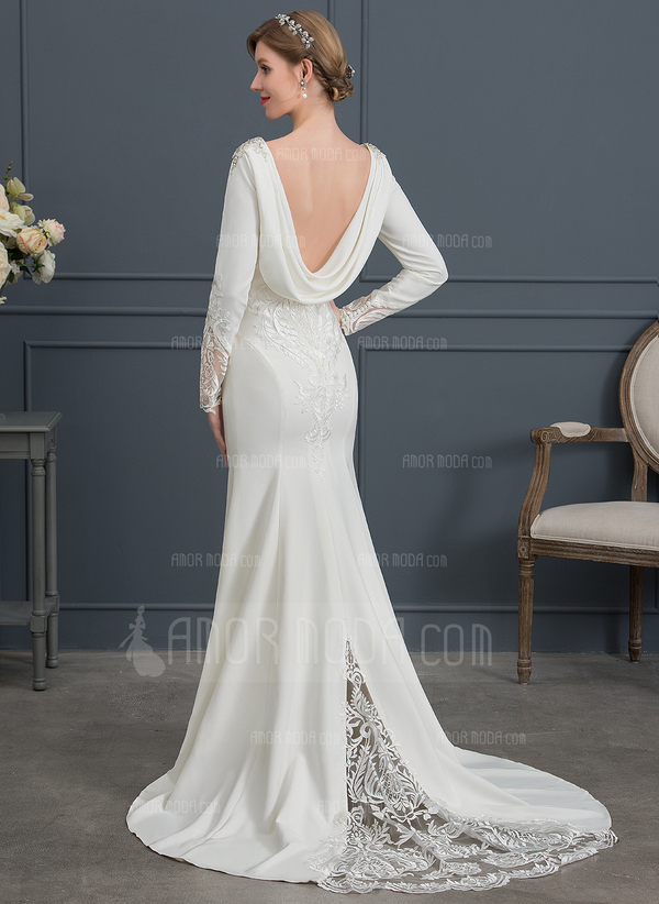 Trumpet/Mermaid V-neck Court Train Stretch Crepe Wedding Dress With Lace Beading Sequins (002146034)