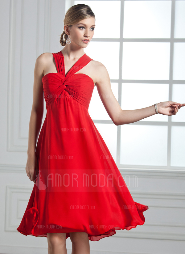 Empire V-neck Knee-Length Chiffon Cocktail Dress With Ruffle Bow(s) (016002435)