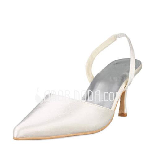 Women's Satin Stiletto Heel Closed Toe Pumps Slingbacks (047010758)
